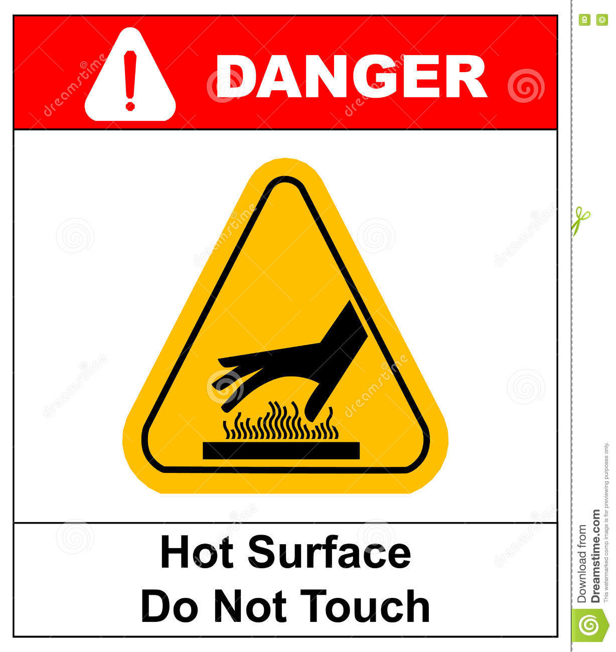 Do not touch hot surface danger signs illustration vector