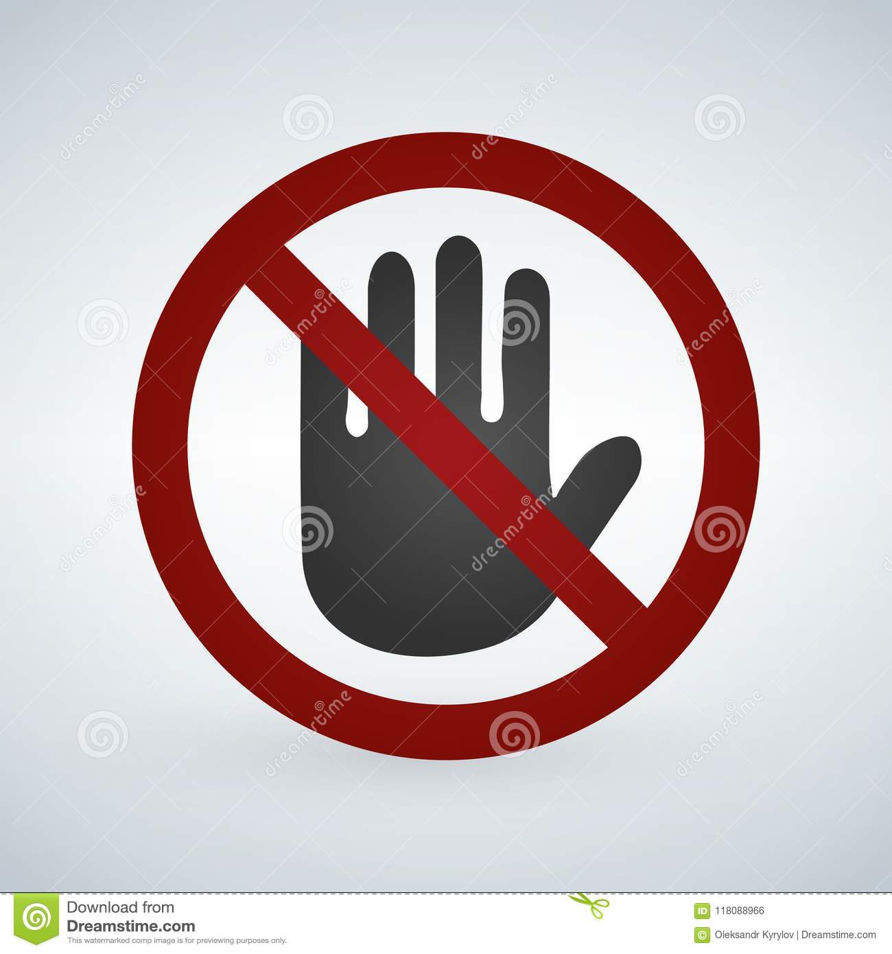 Do not touch icon, vector illustration isolated on white background.