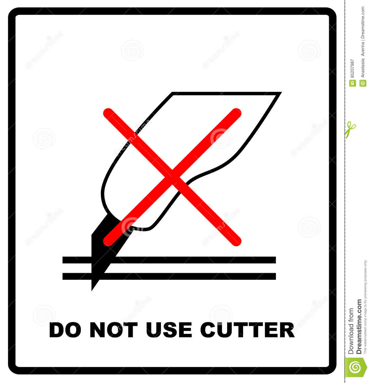 Do Not Use The Cutter Sign Packaging Signs Or Packaging Symbols