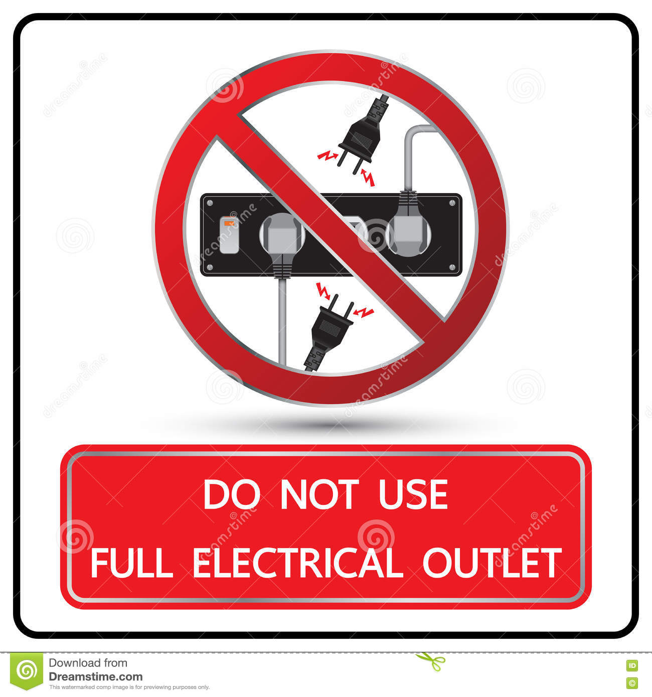 Do Not Use Full Electrical Outlet Sign And Symbol Stock ...