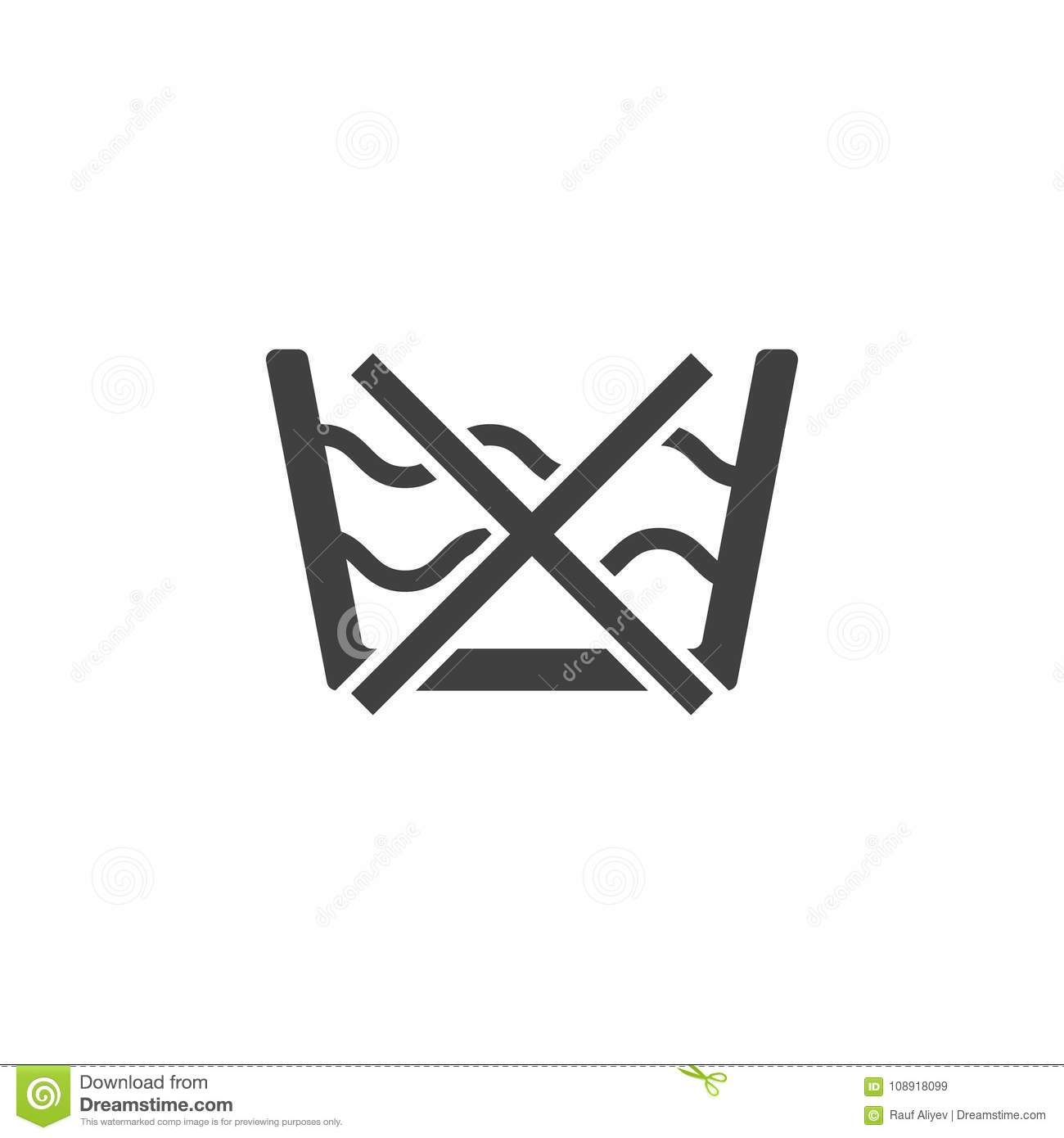 Do Not Washing Care Laundry Symbol Line Icon Stock Illustration