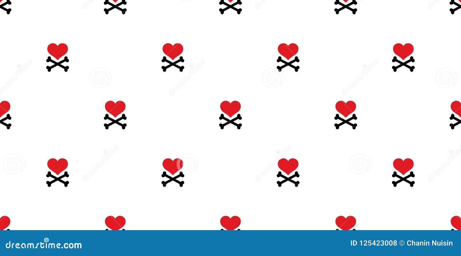 Do pirata transversal do osso do coração o crânio sem emenda do teste padrão isolou o papel de parede de Valentine Halloween do a