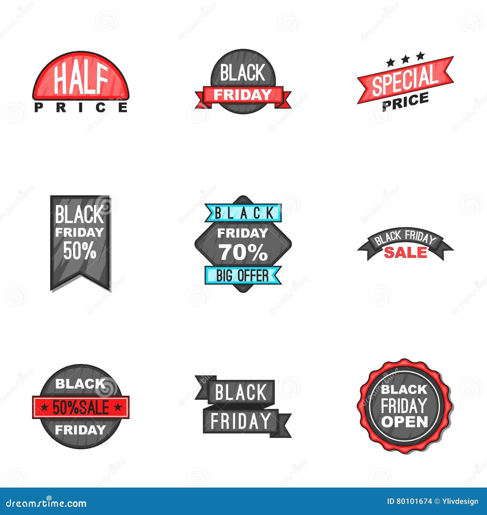 Do preço ícones ajustados, estilo para baixo dos desenhos animados