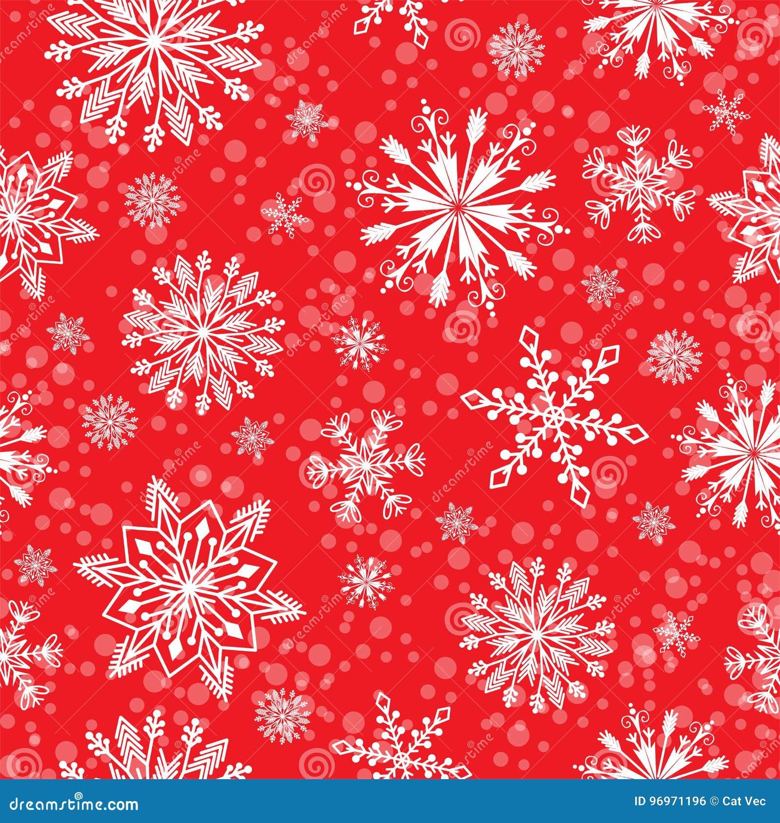 Do tempo sem emenda do teste padrão do vetor do floco de neve fundo tradicional do Natal do papel de envolvimento de dezembro do