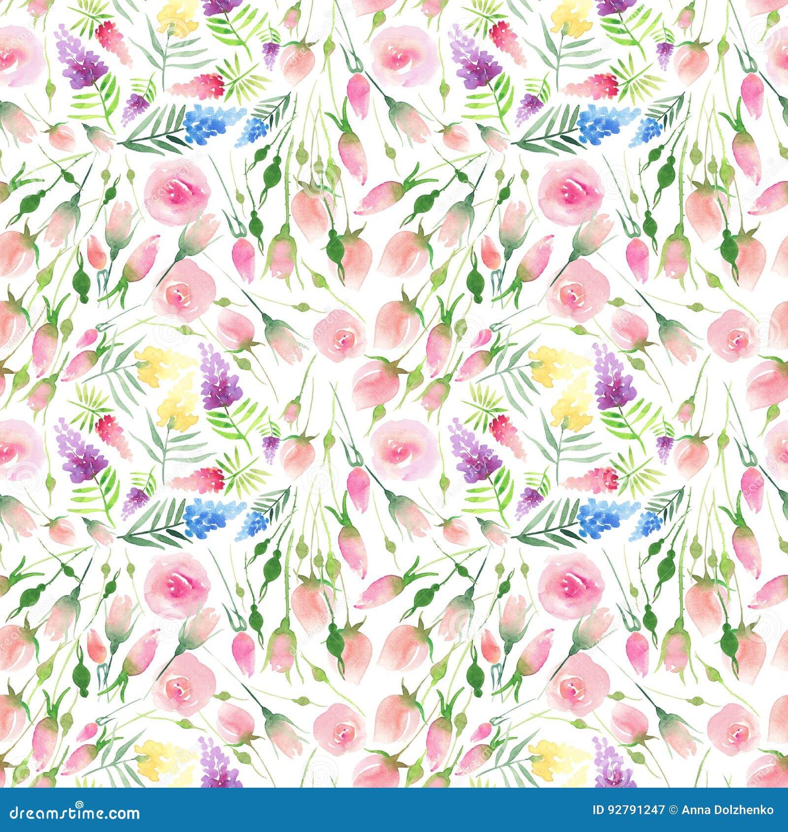 Do verão colorido floral bonito elegante bonito delicado da mola de Ender wildflowers vermelhos, azuis, roxos e amarelos e rosas