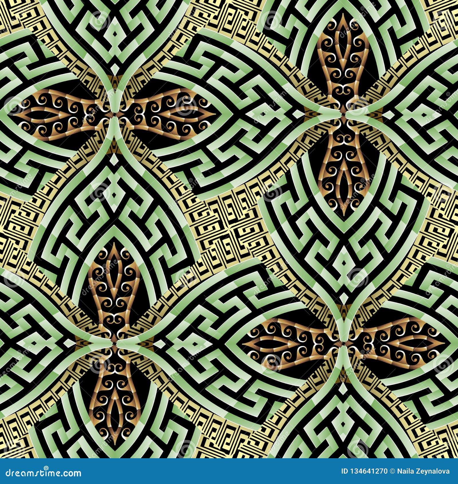 Do vetor moderno decorativo do grego 3d do ouro verde teste padrão sem emenda Fundo étnico do vintage do estilo Sumário geométric