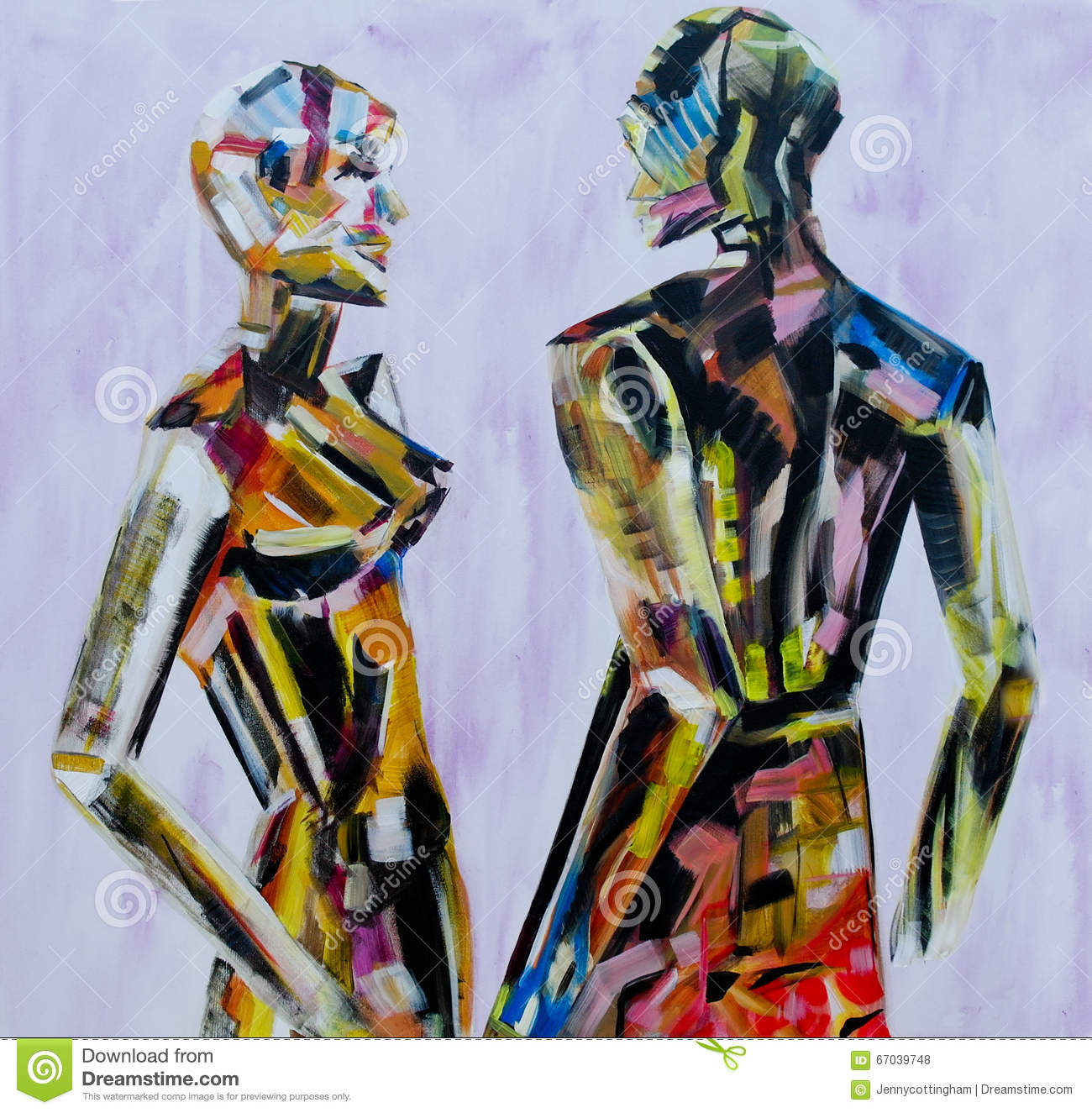 Do You Come Here Often Painting Of Mannequin Robotic Style