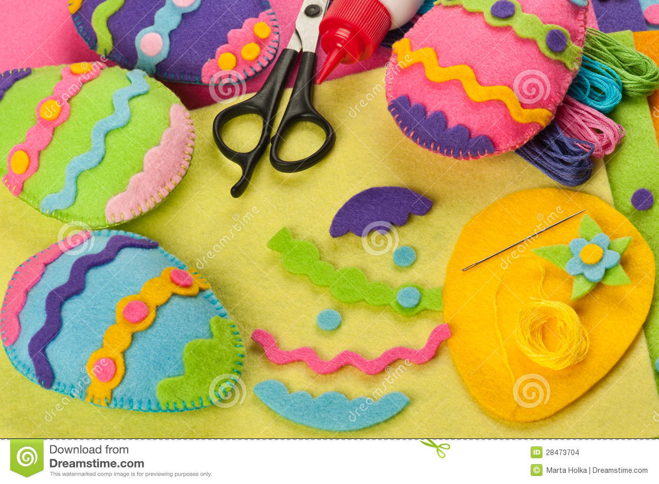 Do It Yourself Easter Felt Decorations Stock Photo - Image ...