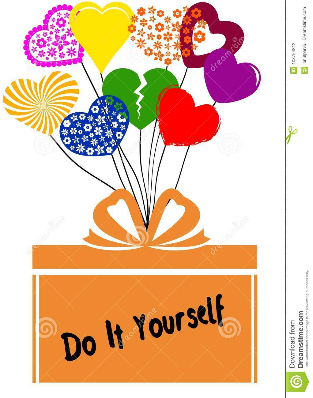 Do it yourself on gift box with multicoloured hearts stock download do it yourself on gift box with multicoloured hearts stock illustration illustration of announcement solutioingenieria Choice Image