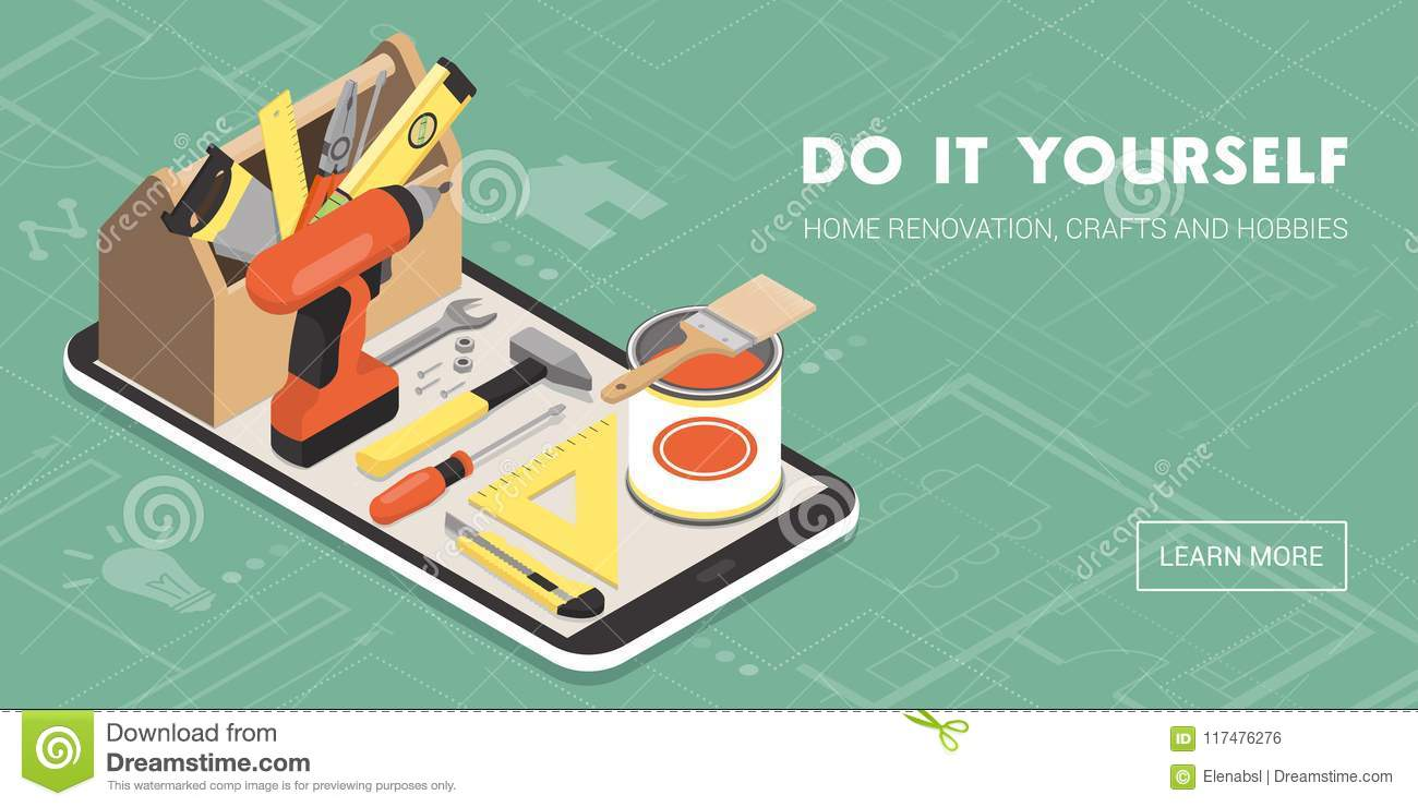 Do it yourself and home renovation app stock vector illustration download comp solutioingenieria Image collections
