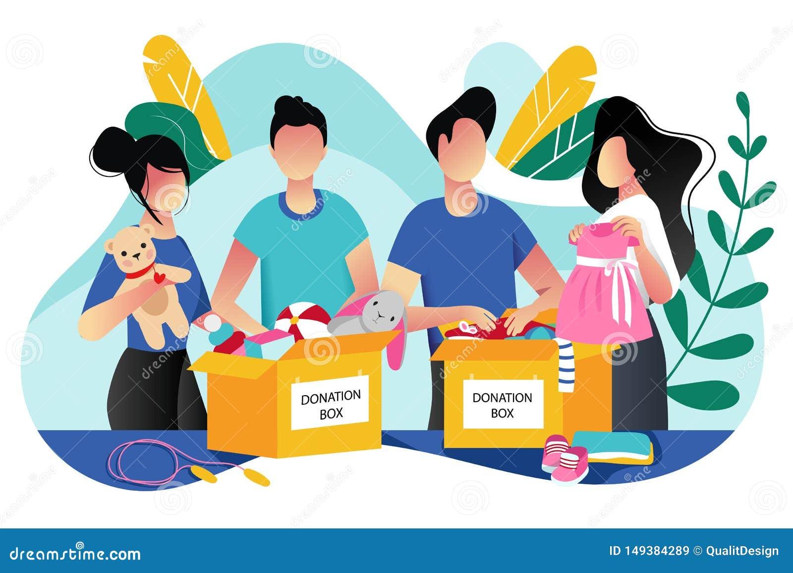 Doação da roupa dos brinquedos e das crianças Ilustração lisa na moda dos desenhos animados do vetor Conceito social do cuidado,