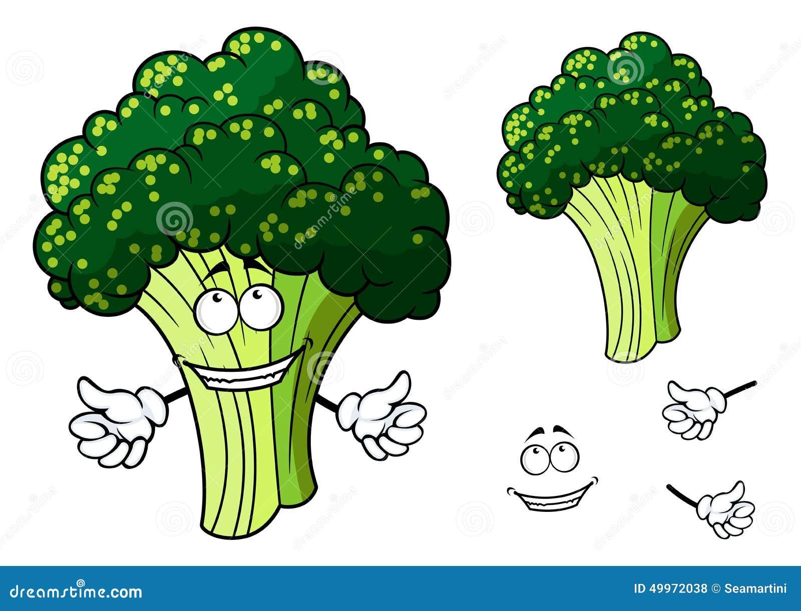 doação fresca feliz dos brócolis dos desenhos animados polegares