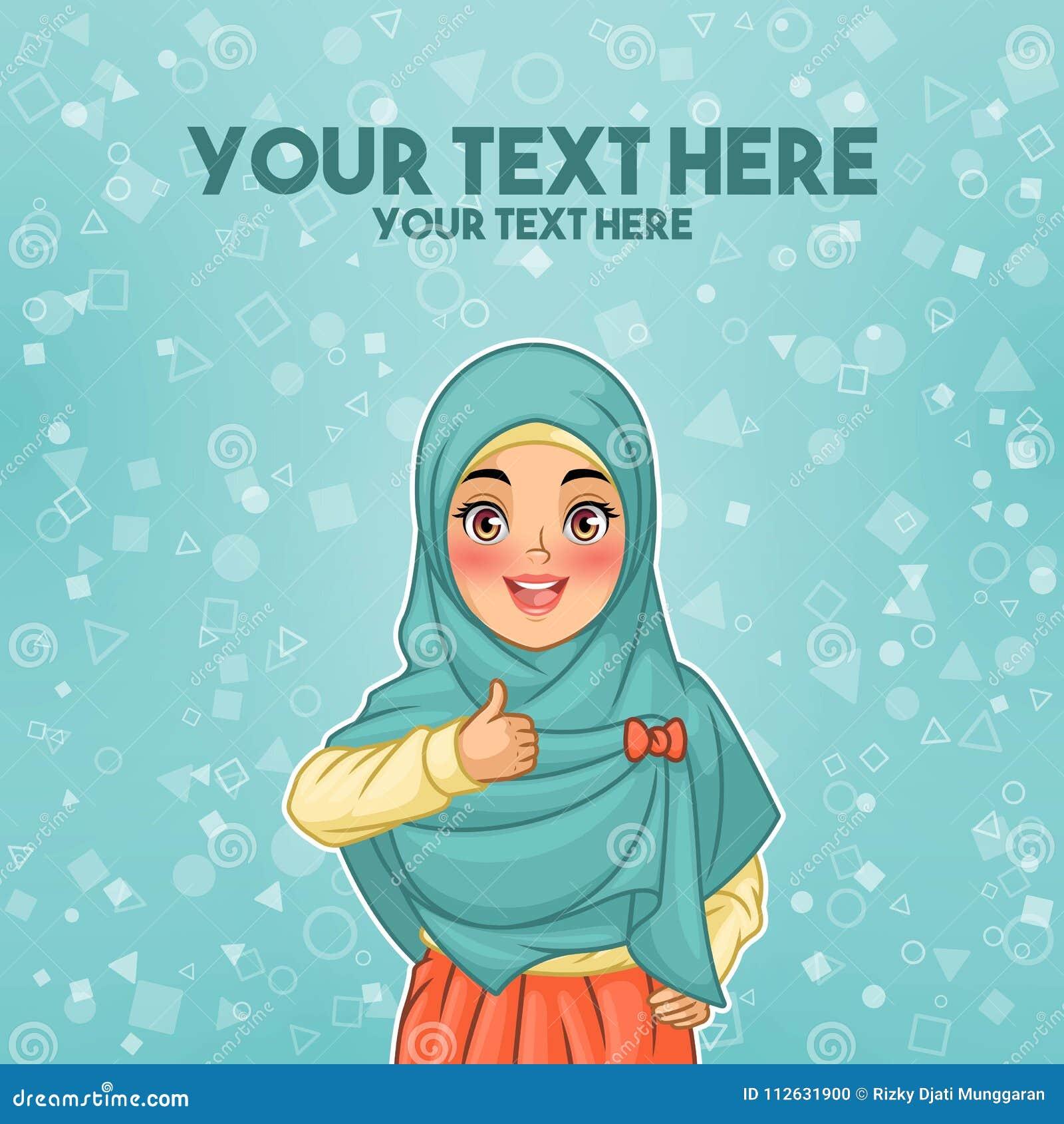 Doação vestindo do hijab da mulher muçulmana polegares acima