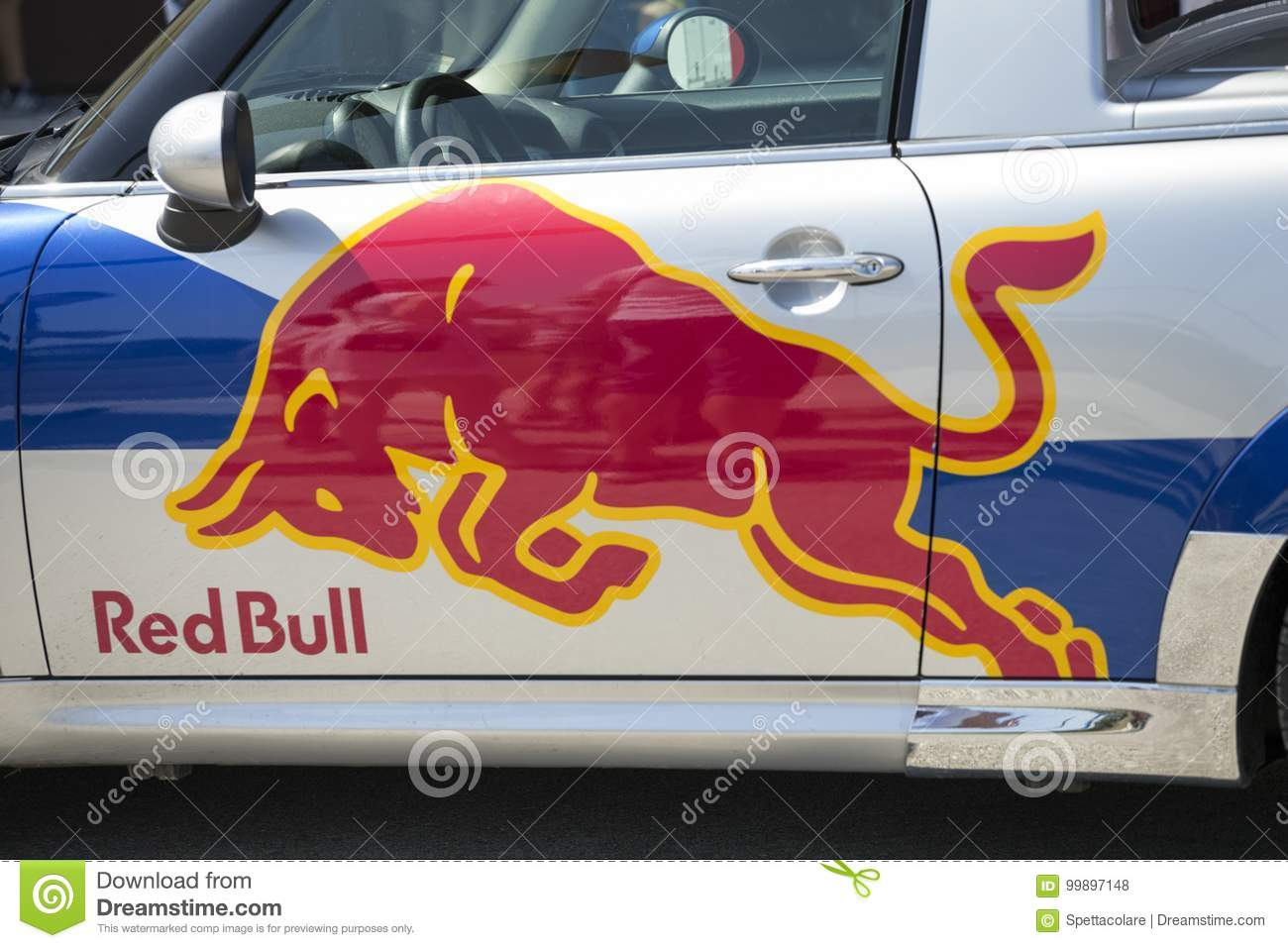 Dobanovci serbia august 26 2017 logo red bull on red bull car red bull gmbh is an austrian company which sells the red bull energy drink