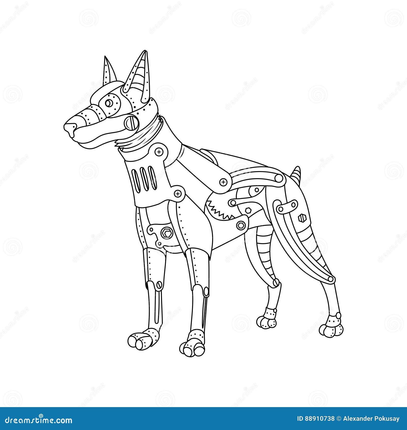 вектор книжка раскраски собаки Doberman стиля пара