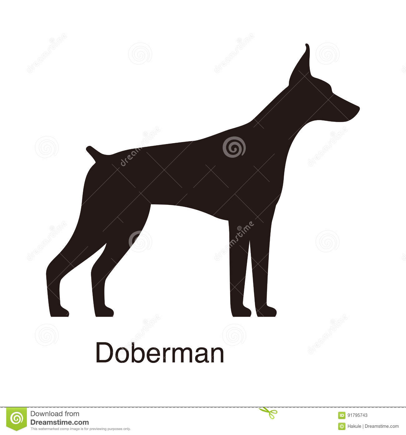 doberman dog silhouette side view vector stock photos