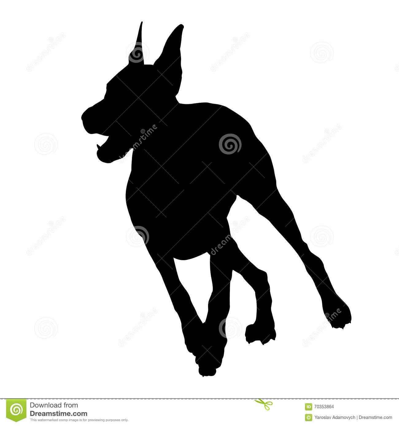 doberman running black silhouette