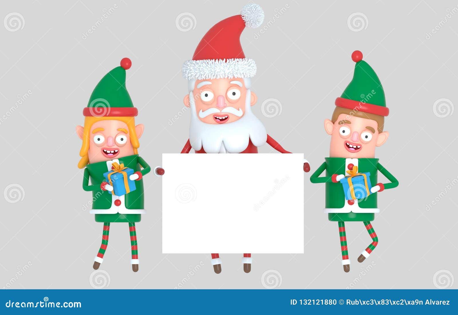 Dobiera się elfa i Święty Mikołaj trzyma białego plakat ilustracja 3 d
