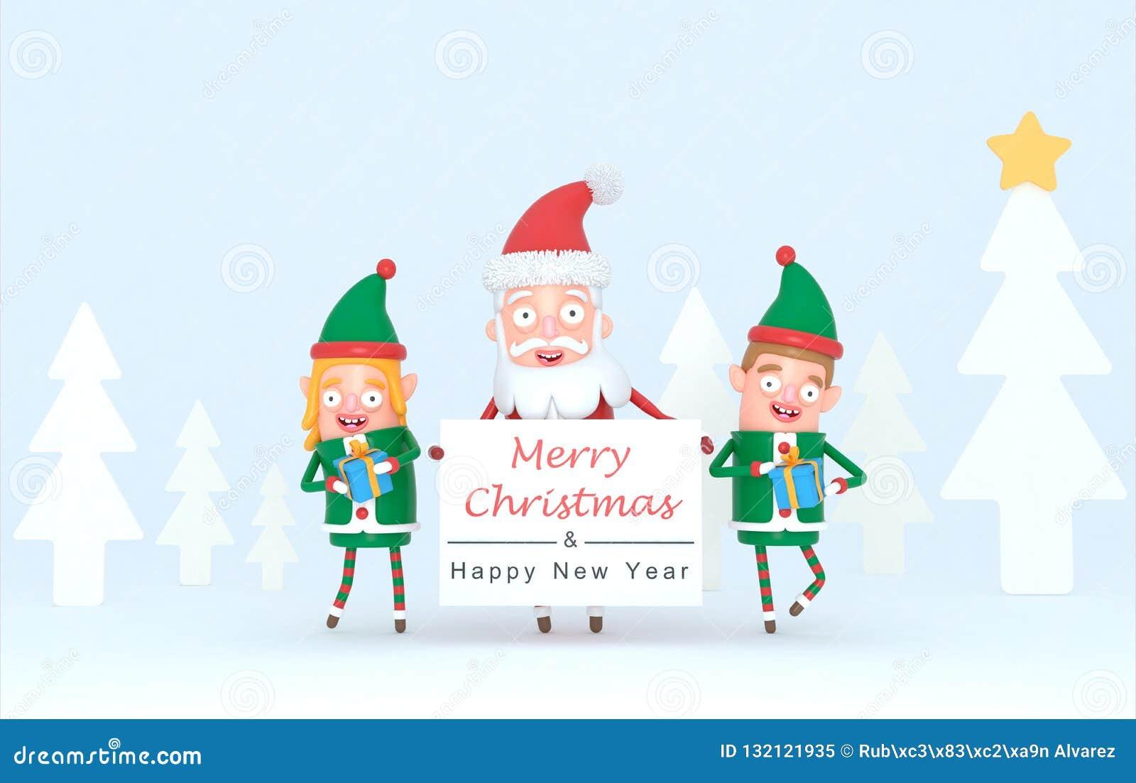 Dobiera się elfa i Święty Mikołaj trzyma białego plakat w lasu secie ilustracja 3 d