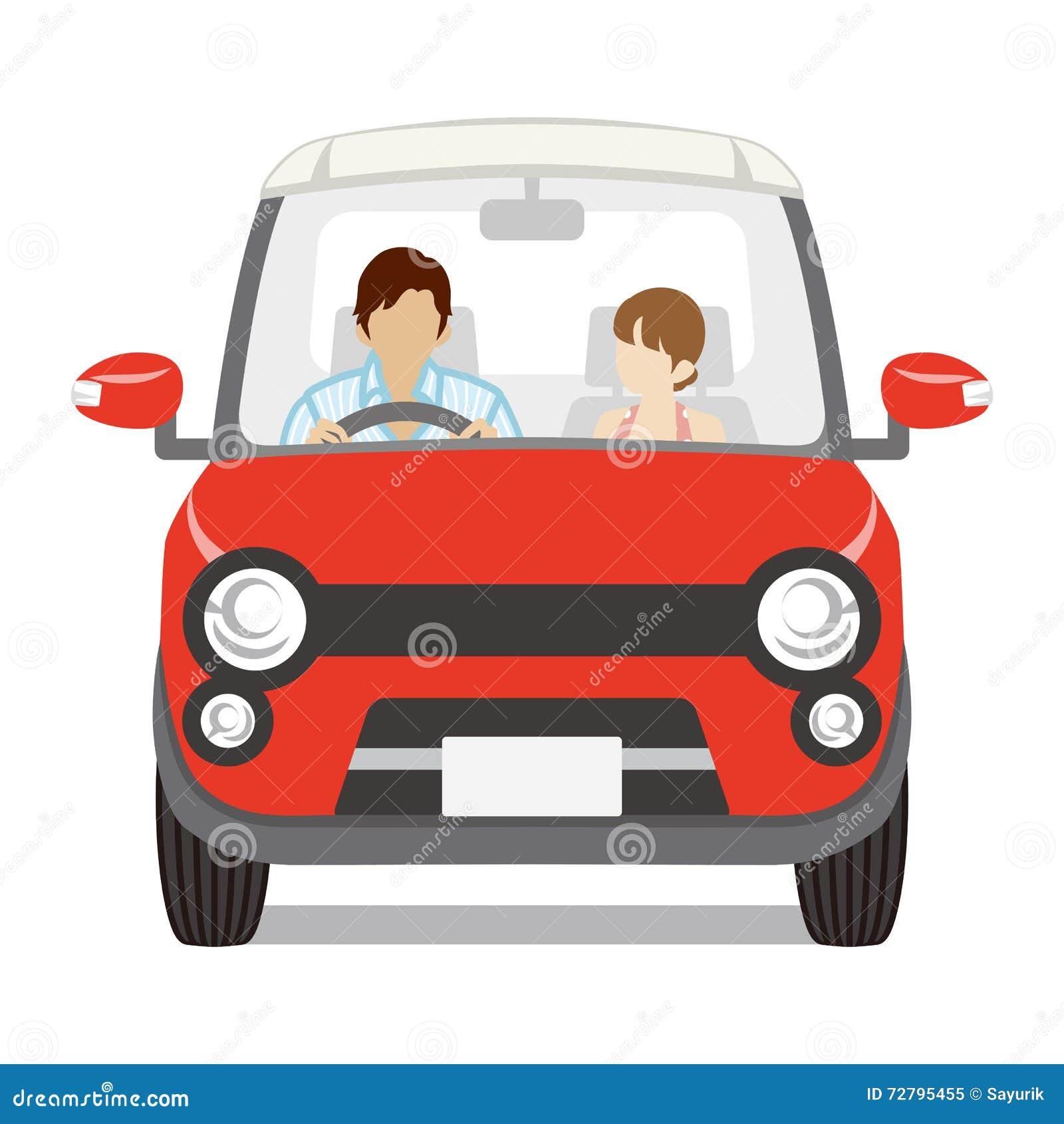 Dobiera się jechać Czerwonego samochód, Frontowy widok - Odosobniony