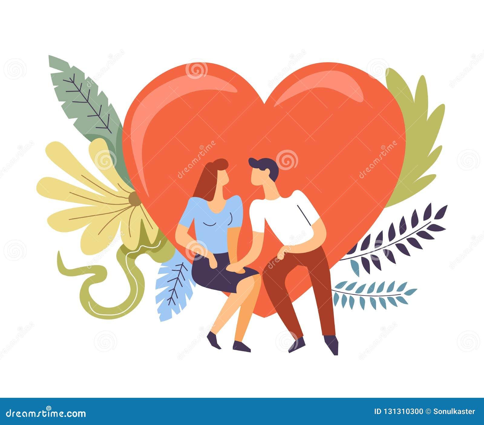 Dobiera się w miłości ściska, całuje, serce i kwiaty,