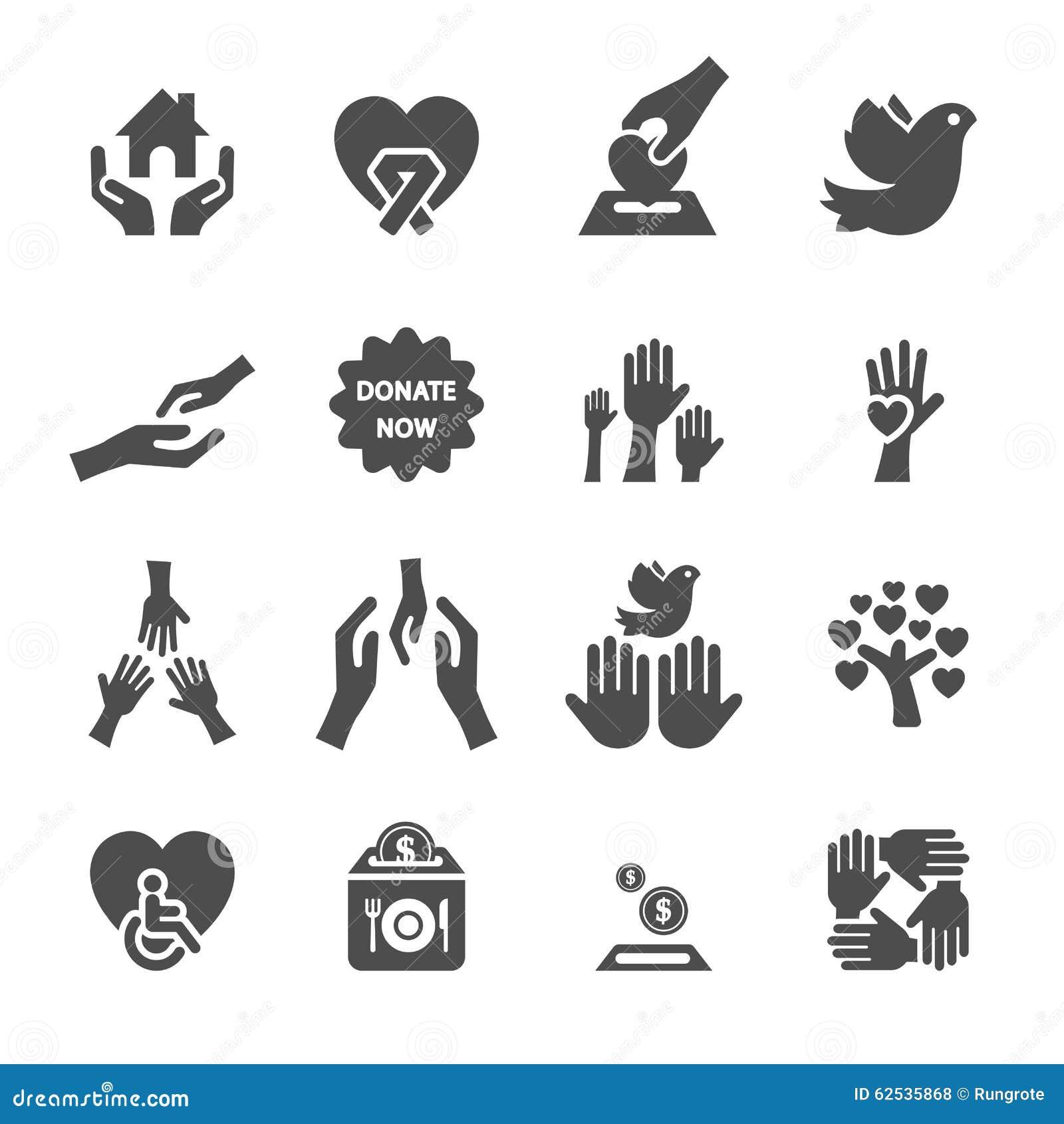 Dobroczynności i darowizny ikona ustawia 8