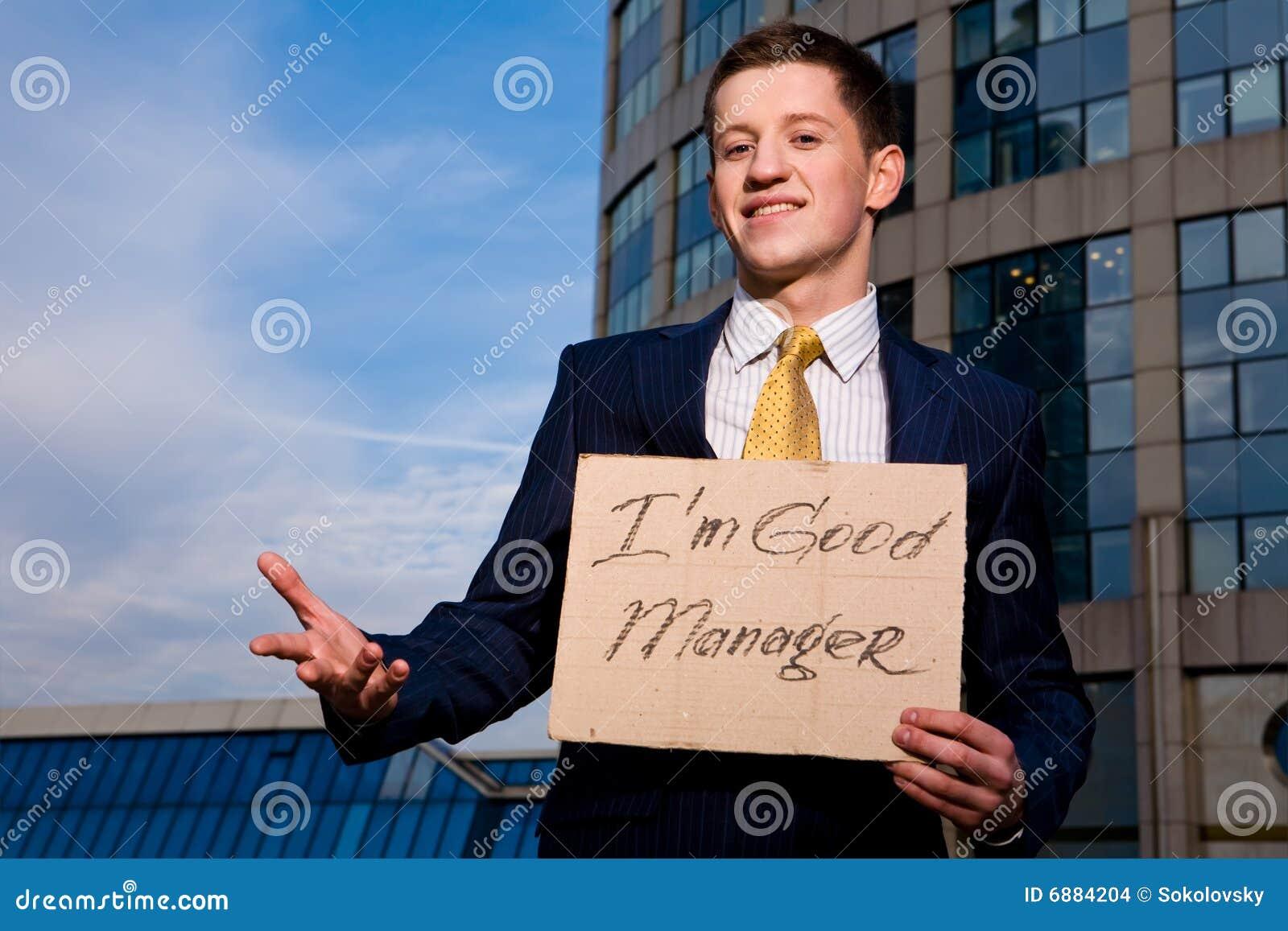 Dobry biznesmena mienie ja kierownika znak