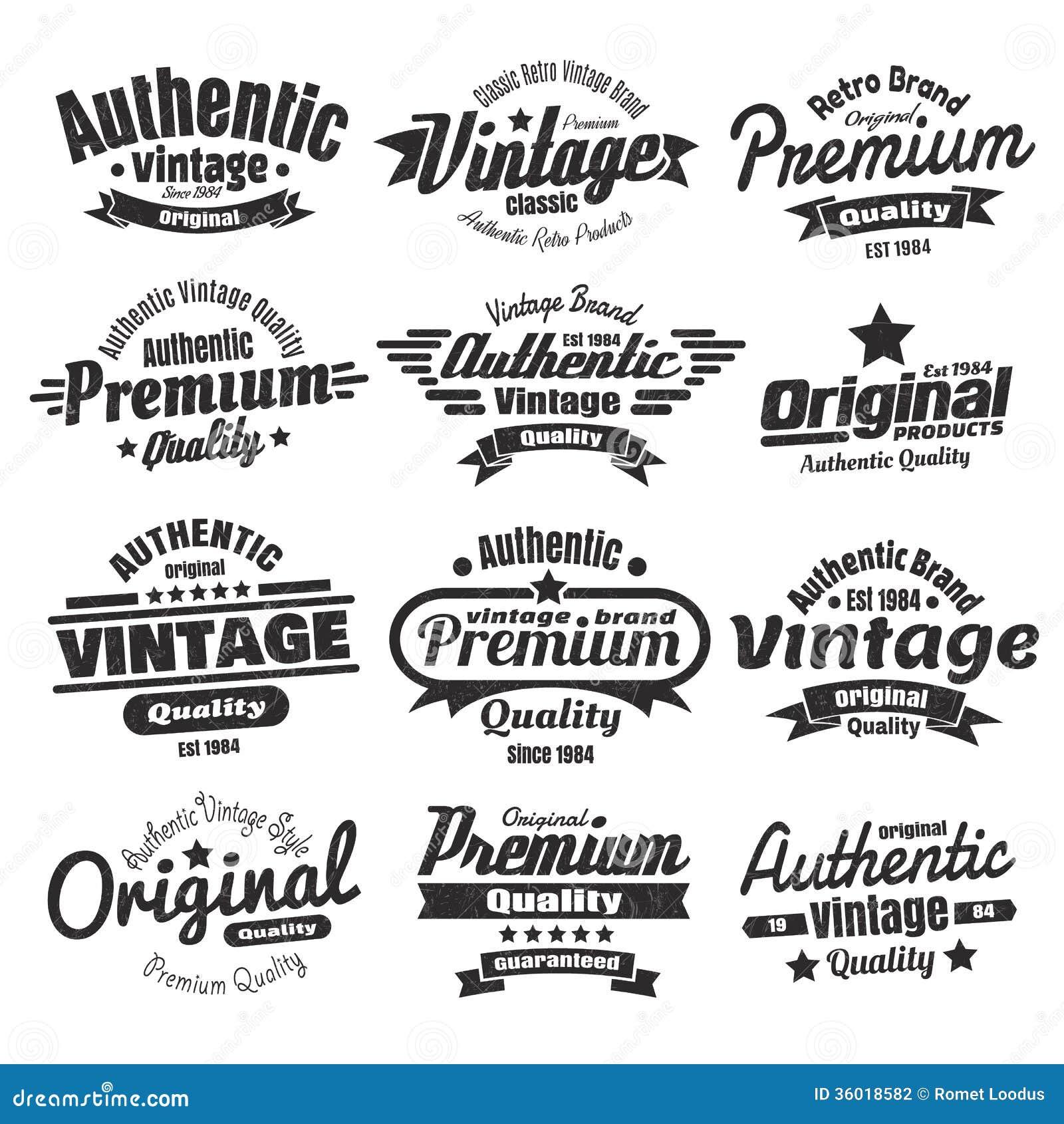 Doce insignias o etiquetas del vintage