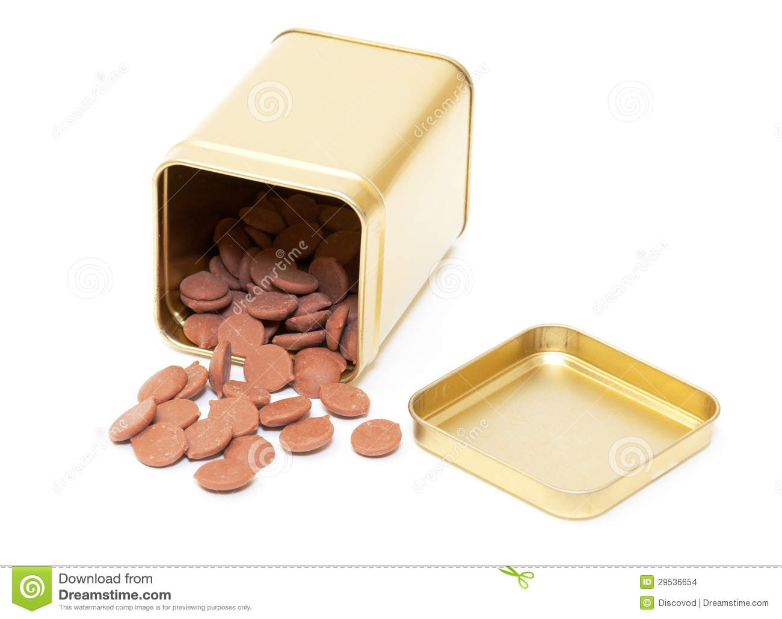 Doces de chocolate na lata de estanho