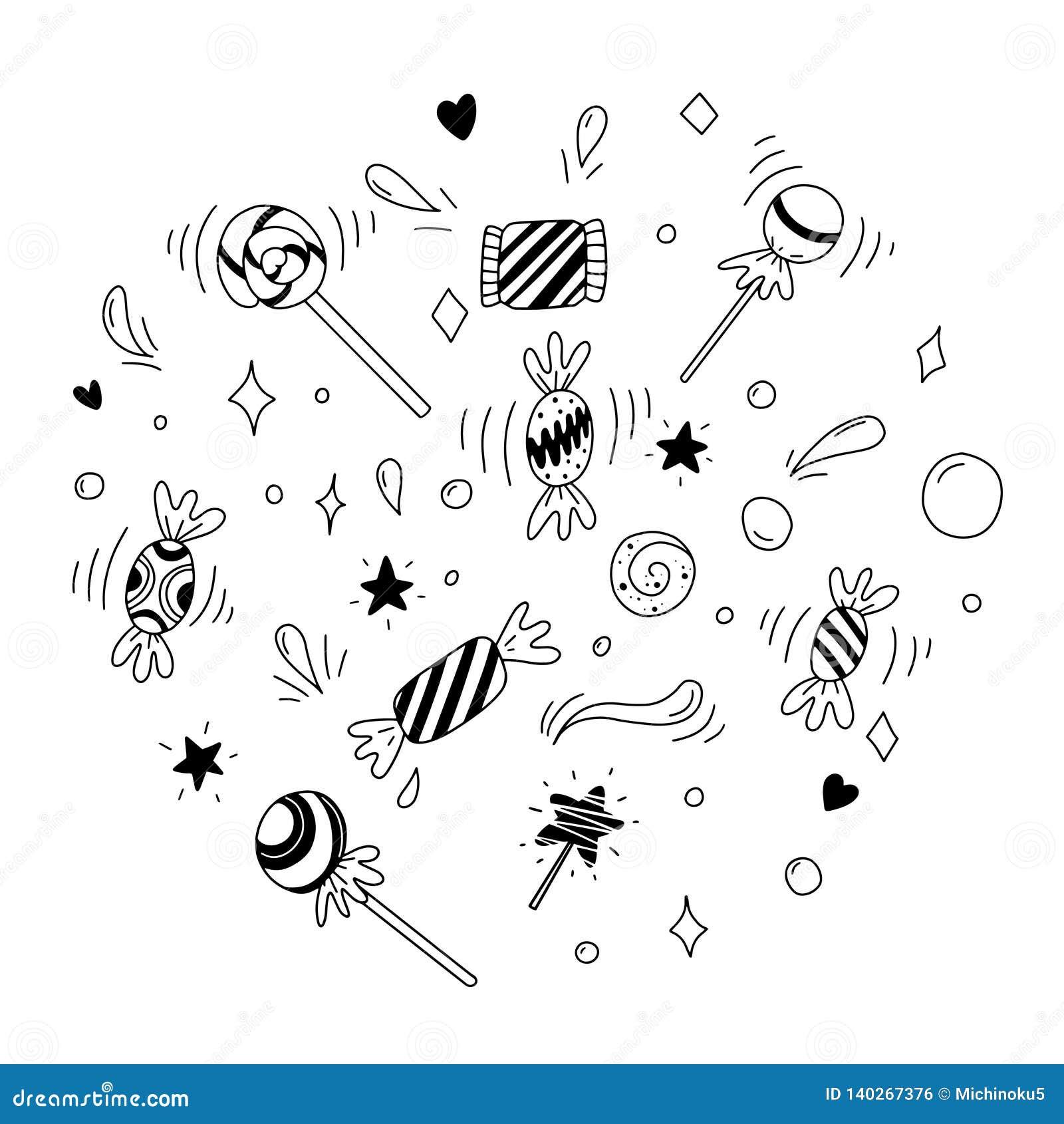 Doces E Pirulitos Ilustração Preto E Branco Para O Livro