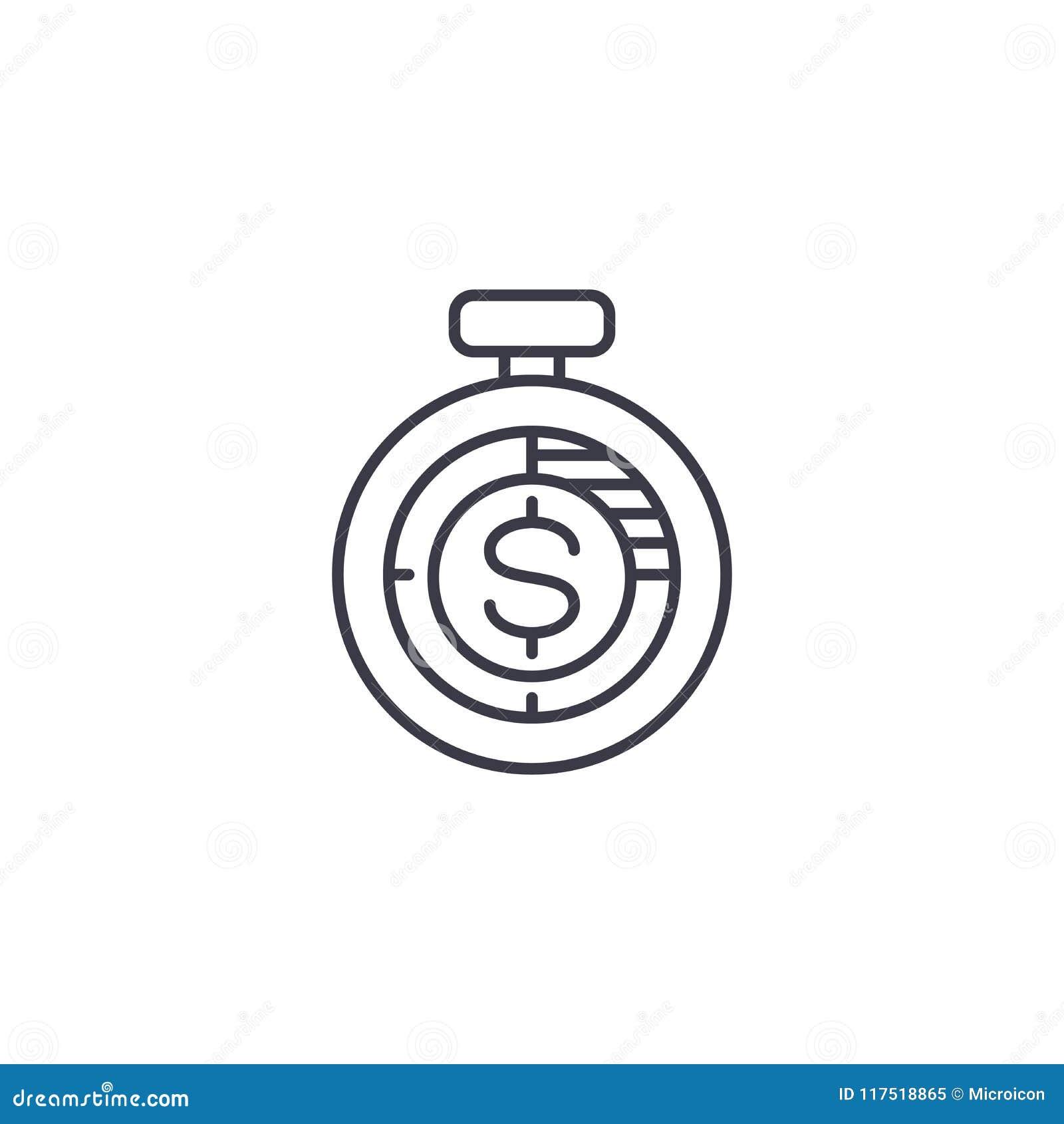 Dochodu pomiaru ikony liniowy pojęcie Dochodu pomiaru linii wektoru znak, symbol, ilustracja