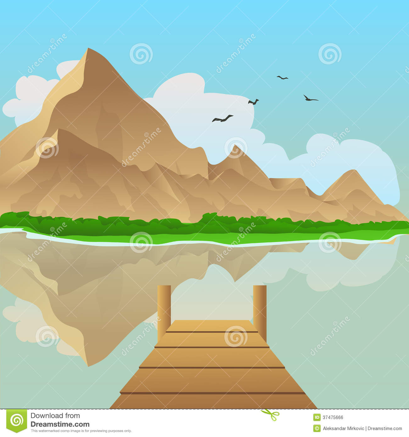 Summer landscape vector illustration with lake and mountain in ...