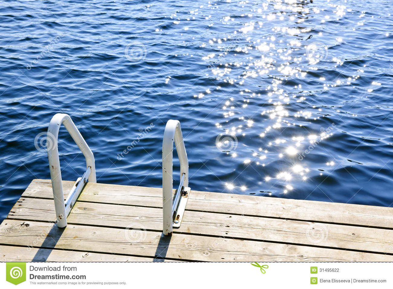 Vacation Cottage Plans Dock On Summer Lake With Sparkling Water Stock Photo