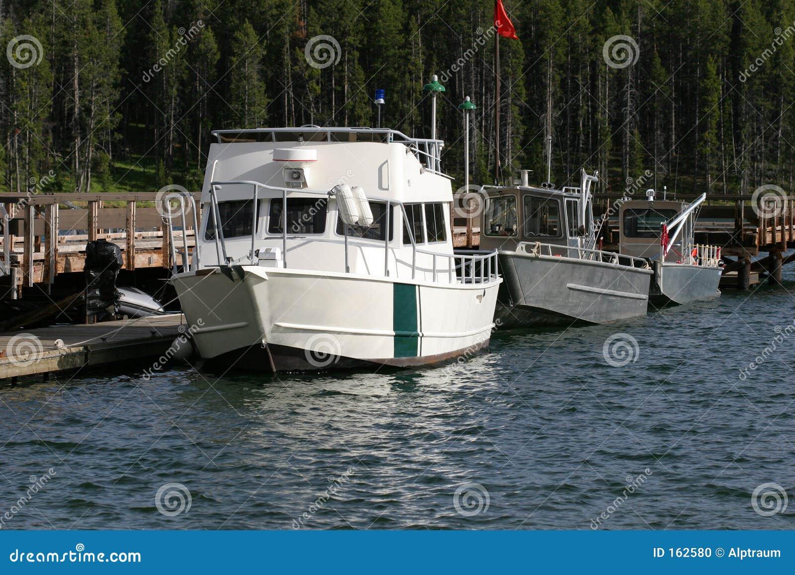 Docked motor boats