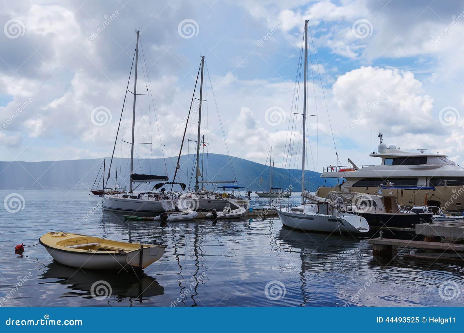 Docked yachts