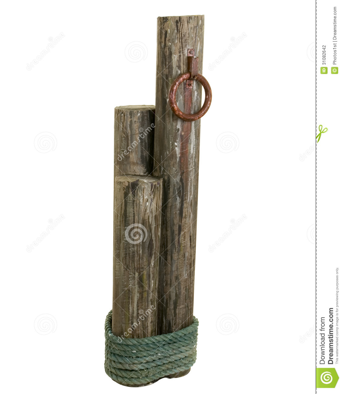 set of three wooden posts tied with rope for mooring a boat.