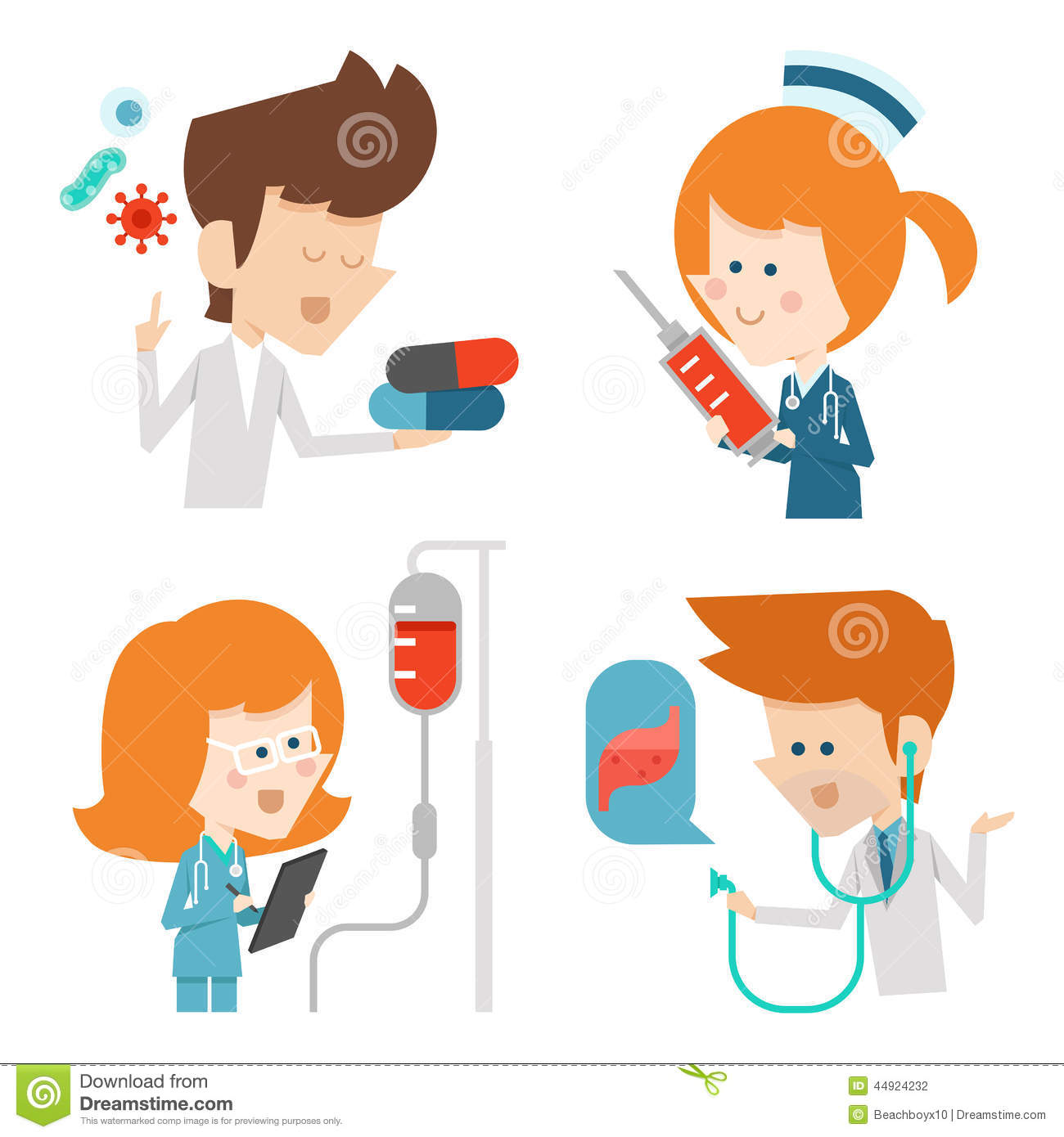 Character Design Vector : Docter and nurse flat character design stock vector