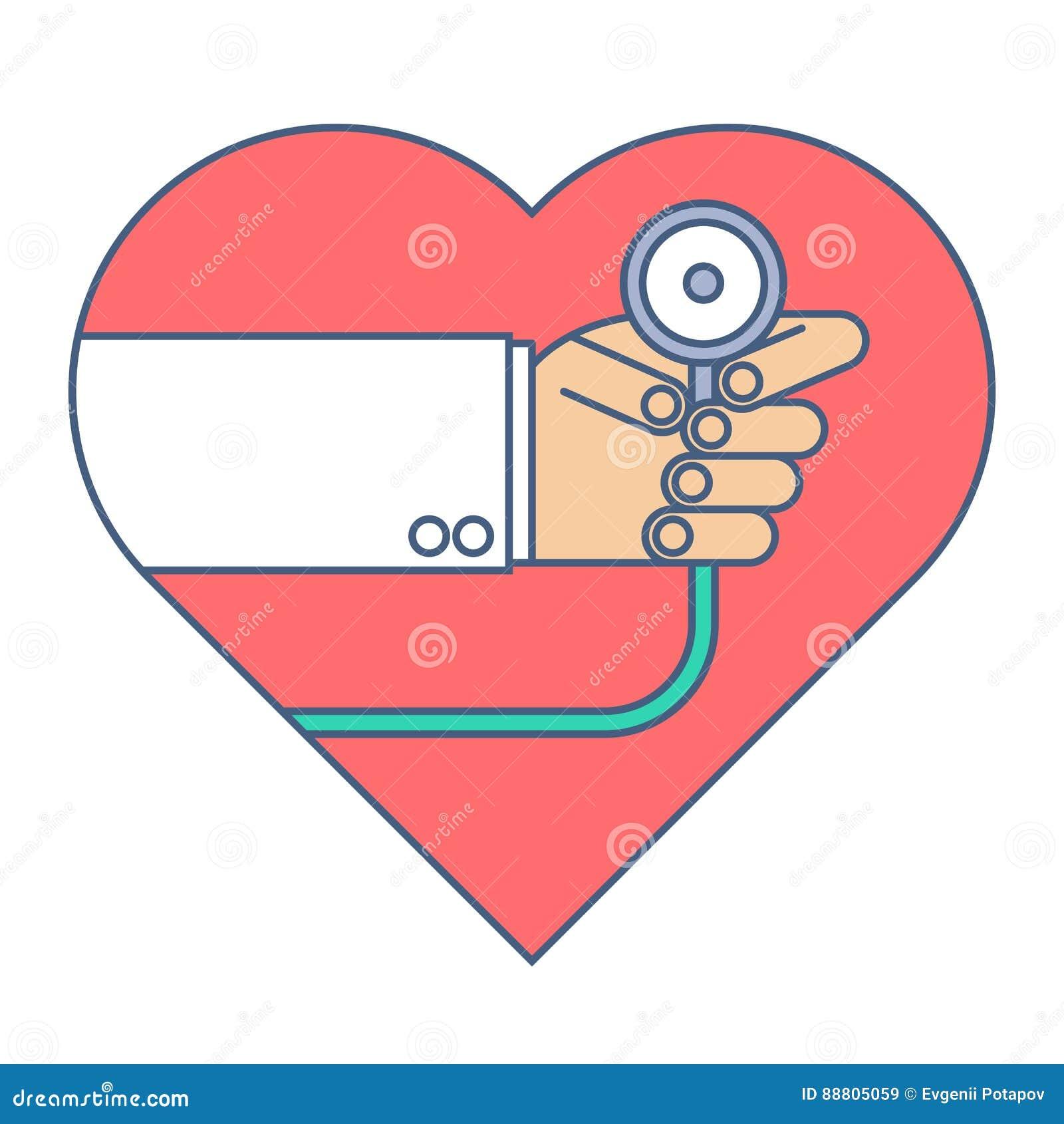 Docteur avec une impulsion de coeur d examens de stéthoscope Ligne plate illustrat