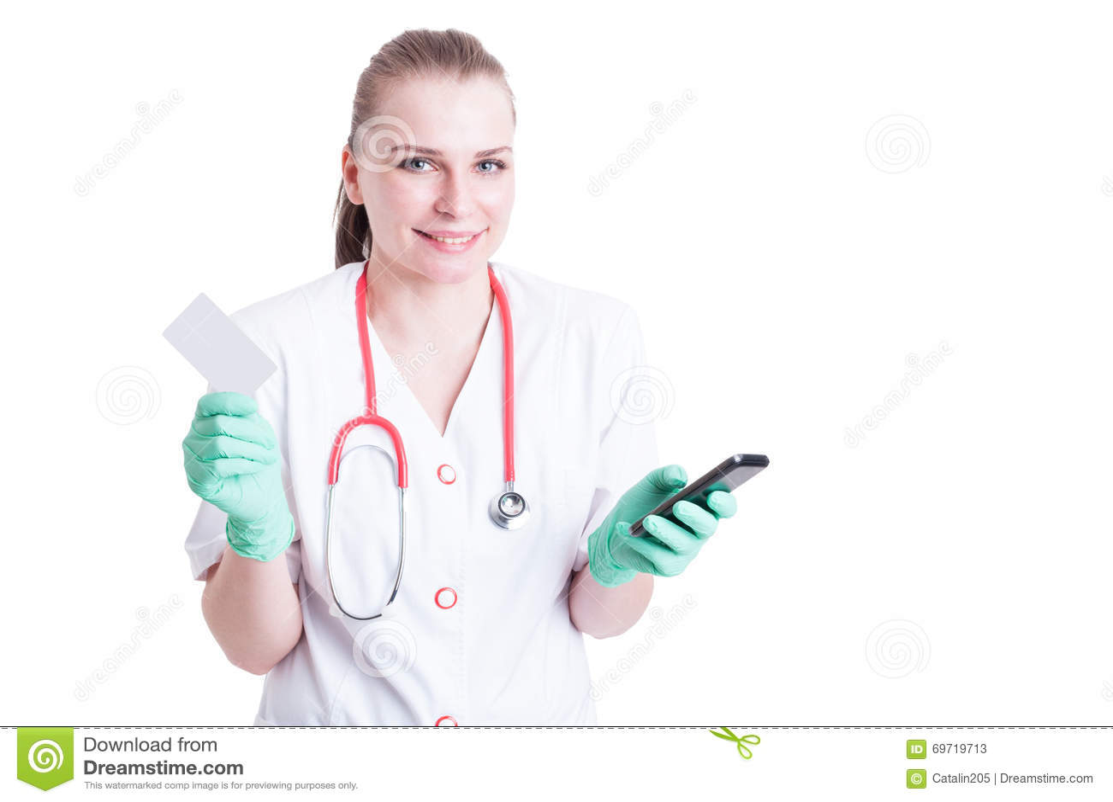 Medecin Ou Chirurgienne De Jeune Femme Avec Le Service Mini Messages Carte Visite Professionnelle Sur Telephone Portable Et Regard