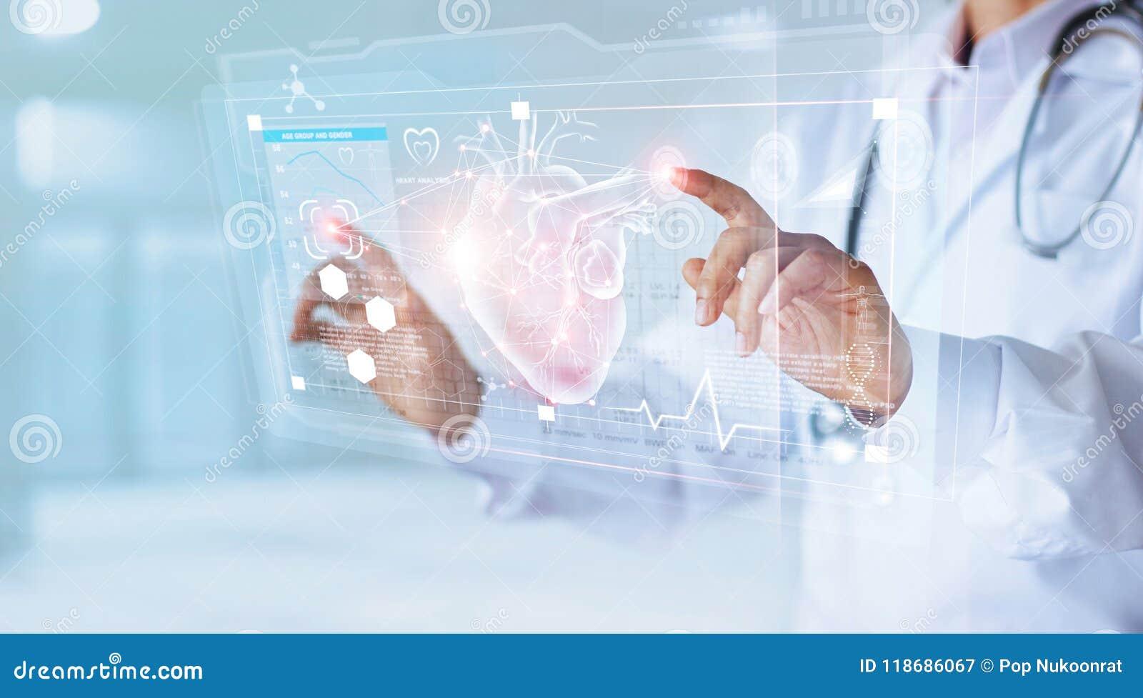 Docteur de médecine avec le coeur émouvant d icône de stéthoscope
