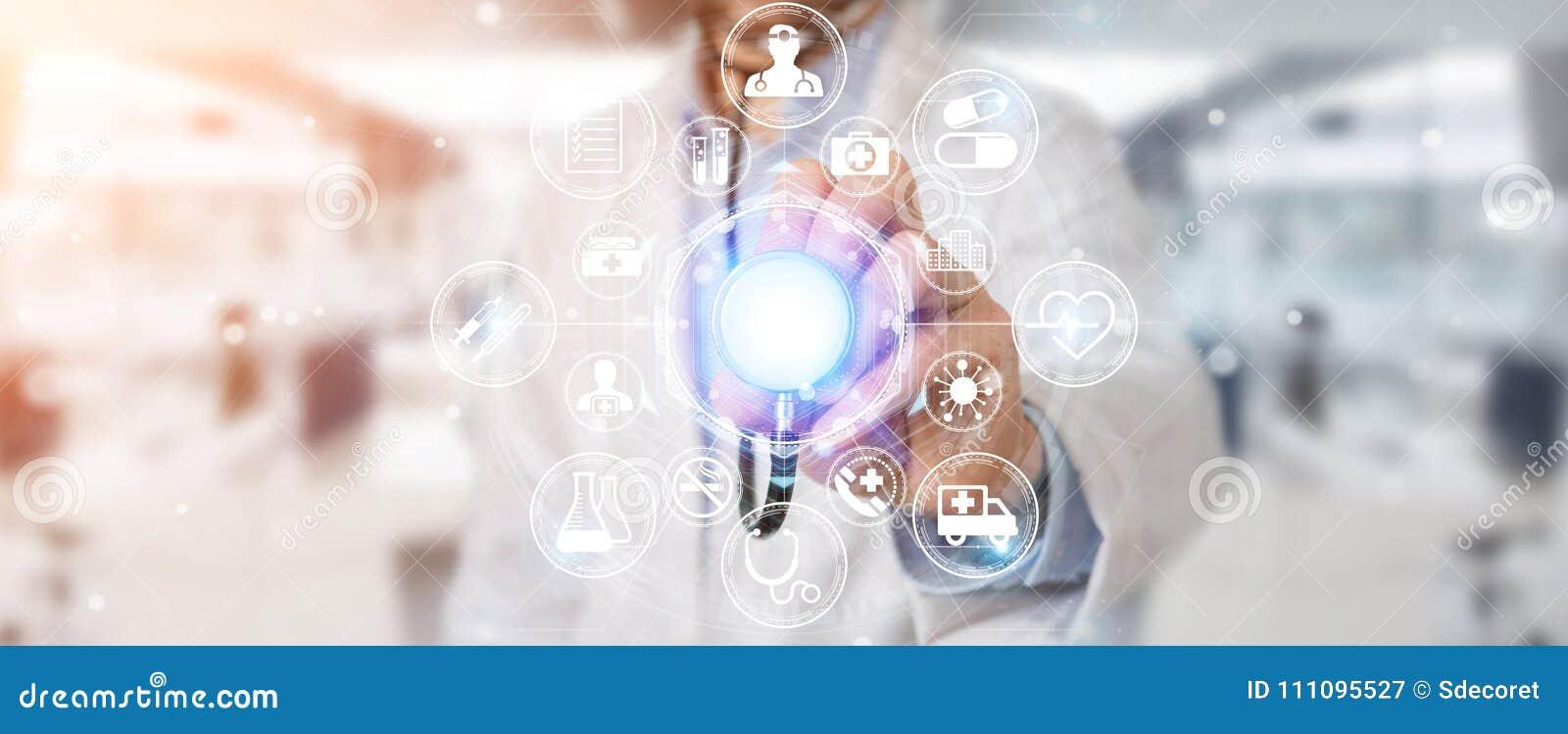 Docteur employant le rendu futuriste médical numérique de l interface 3D