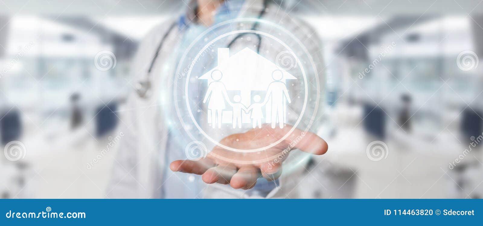 Docteur employant le rendu numérique de l interface 3D de soin de famille