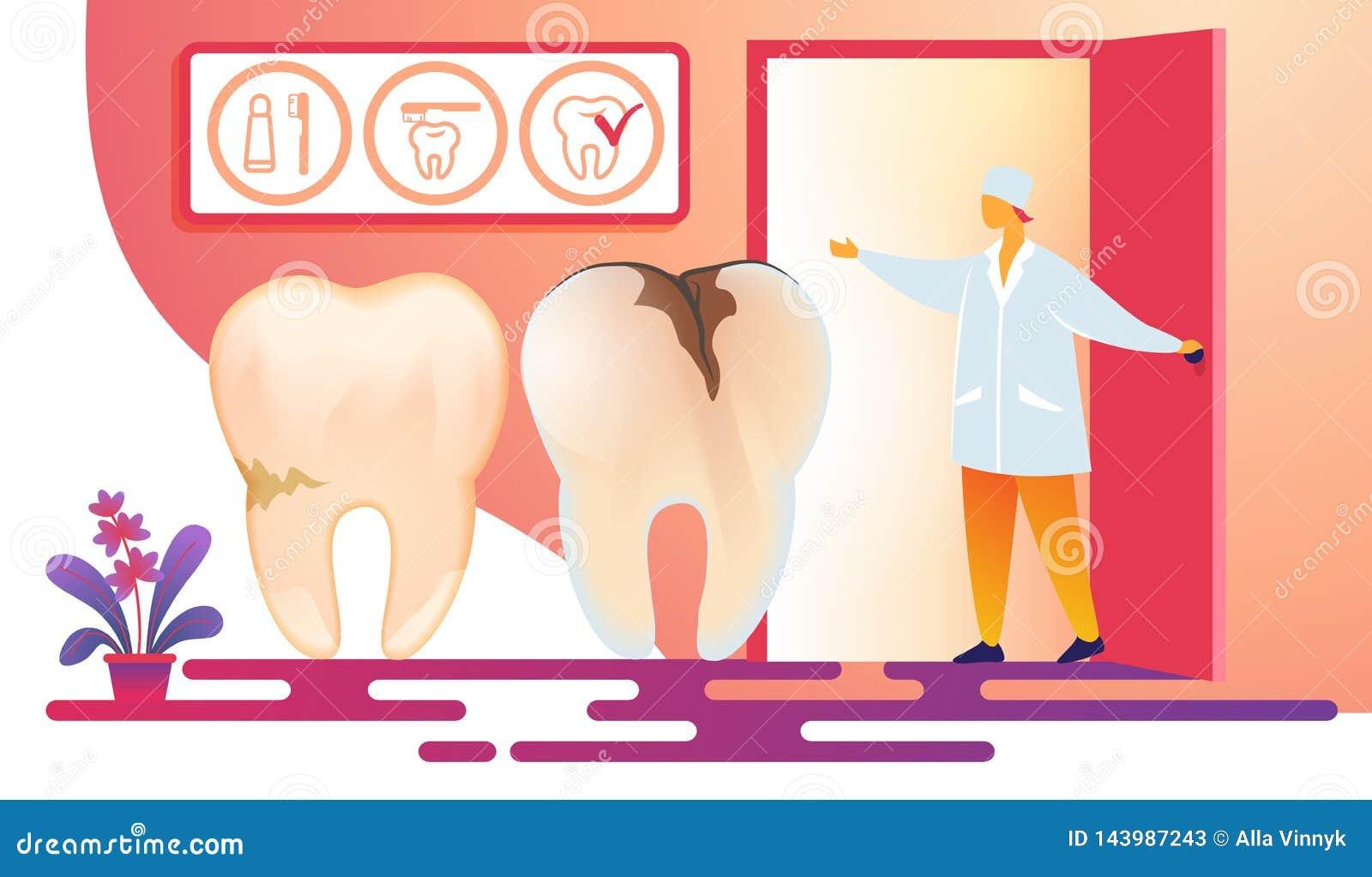 Docteur f?minin Inviting Patient d art dentaire dans la chambre