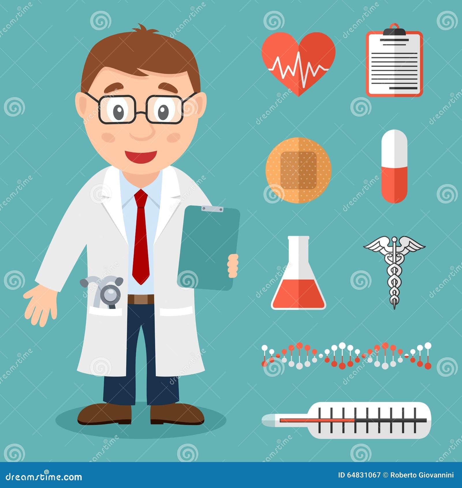 Docteur masculin blanc et icônes médicales plates