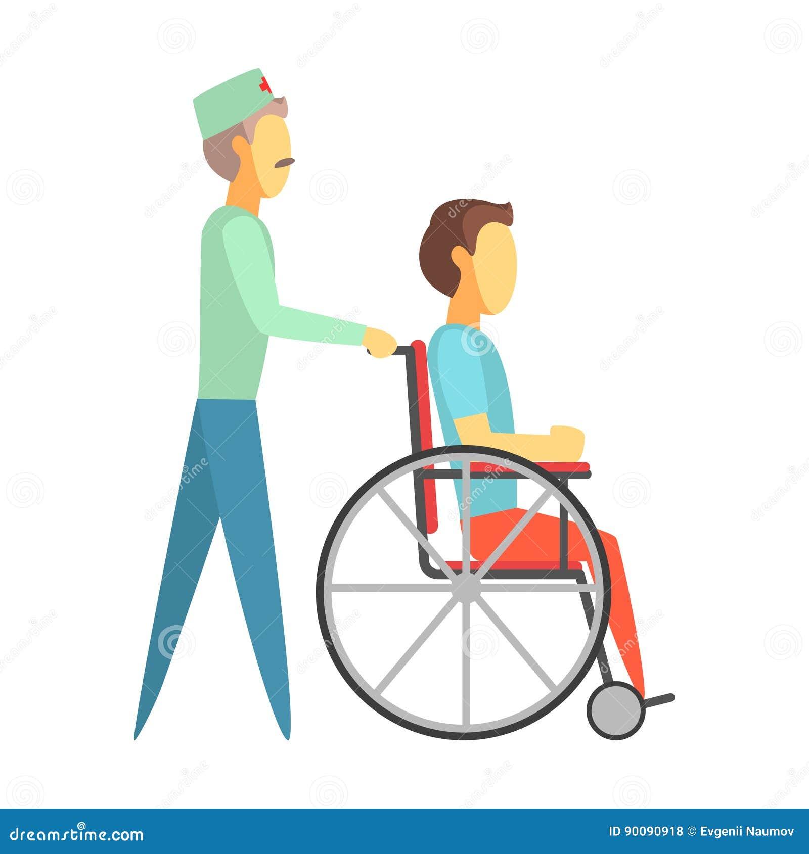 Docteur Masculin Poussant L Homme Handicapé S Asseyant Sur