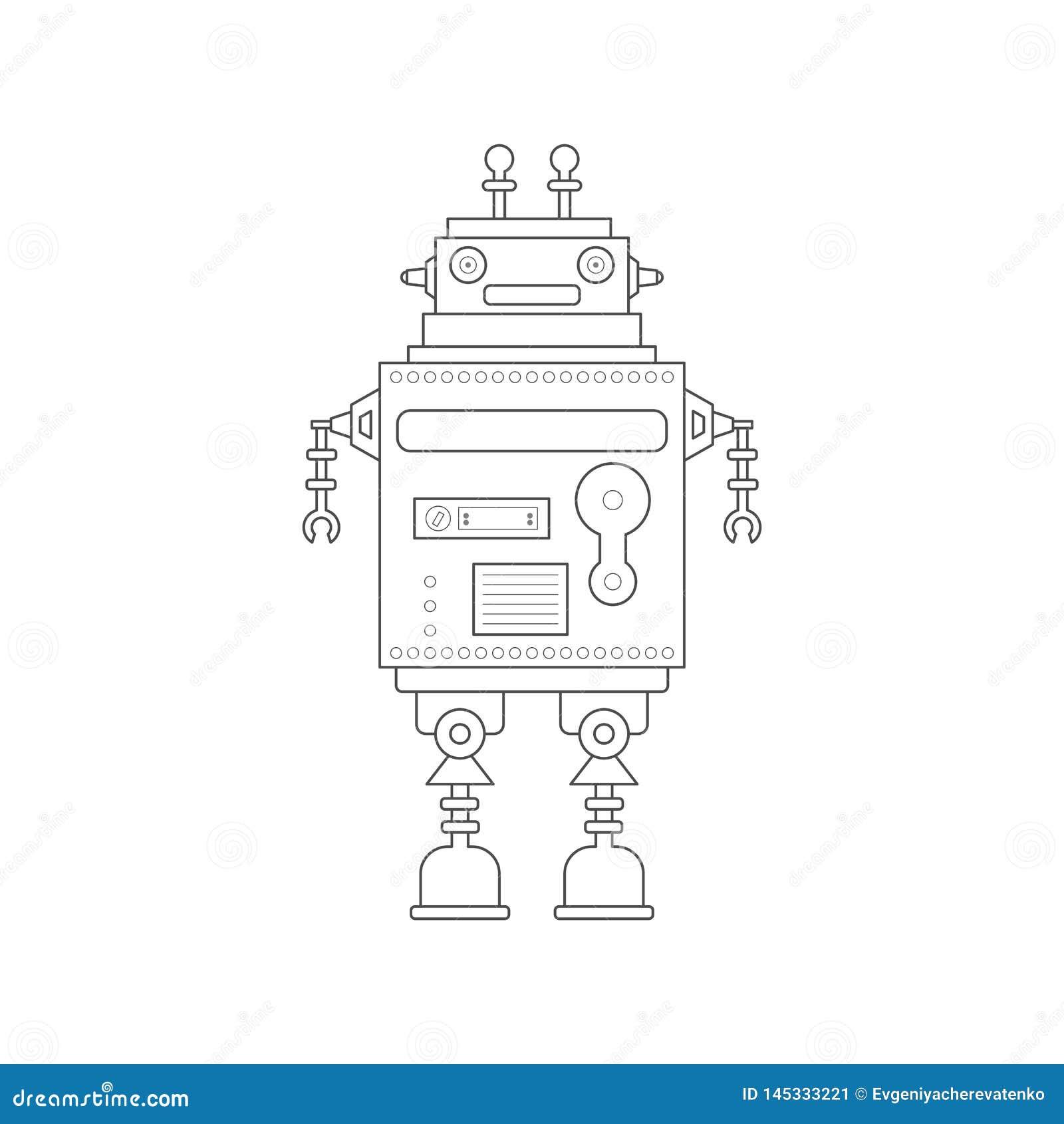 Docteur robotique de vecteur mignon dans la ligne style