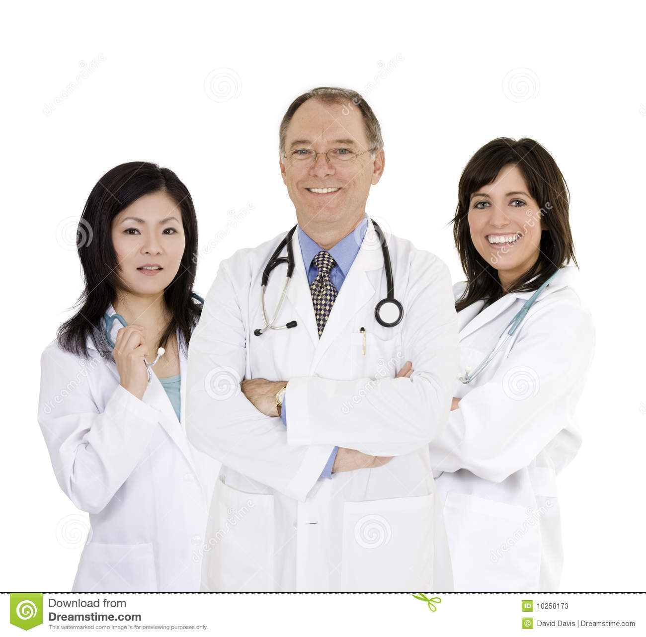 Group of confident doctors and nurses with their arms crossed displaying some attitude