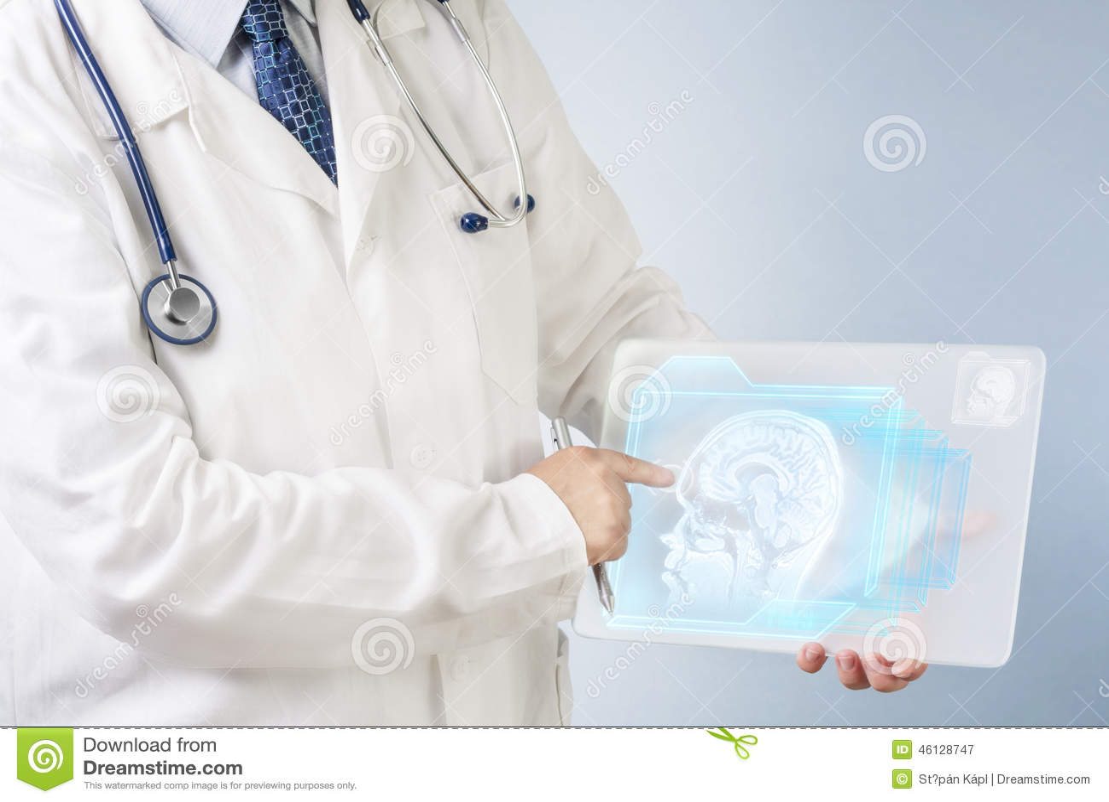 Doctor analyzing brain image