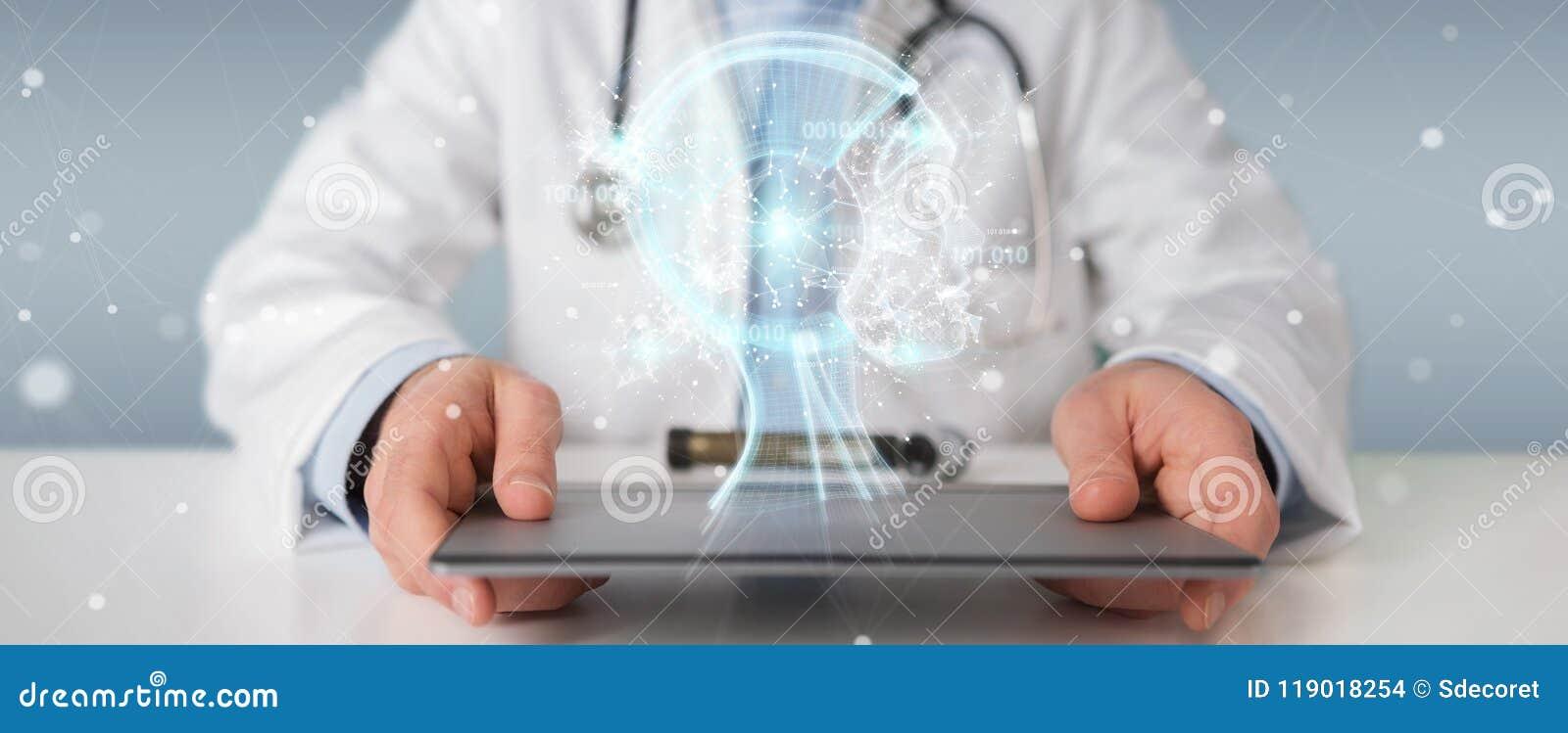 Doctor using digital artificial intelligence interface 3D render