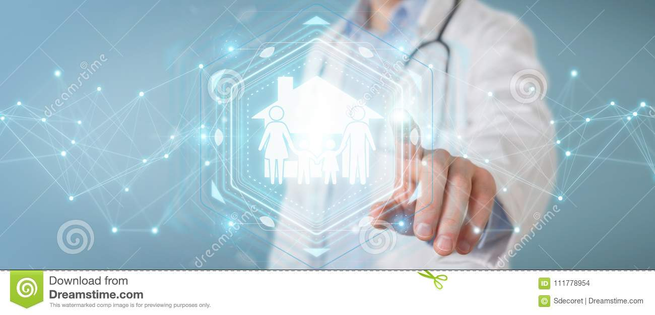 Doctor using digital family care interface 3D rendering